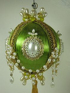 Vintage+BEADED+Christmas+ORNAMENT+Green+by+LavenderGardenCottag,+$10.00