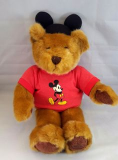 Disney Bear Plush with Mickey Ears and Shirt NWT Disney Store Exclusive 28 Inch #Disney