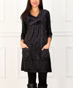 Look at this #zulilyfind! Charcoal & Black Pocket Shift Dress #zulilyfinds Cute dress.