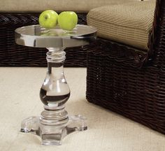 "Baluster Table    H17"" • 13 1/2 Diameter    74301-C  Clear, Murano glass.  thewickerworks  ladesign or OLY"
