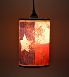 Texas Flag - Vintage / Rustic Western Style 5in Pendant Light - Country Decor. $100.00, via Etsy.