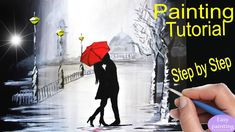 How to paint COUPLE kissing red UMBRELLA . Rainy Day painting Tutorial S...