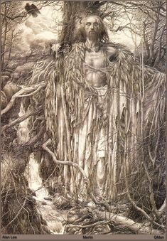 """""""Merlin"""" - Illustration to T.H. White's """"The Book of Merlyn"""" (or other) from series based on Arthur's legends. From The Drawings of Alan Lee"""