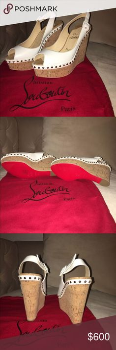 Christian Louboutin Wedges Christian Louboutin Monico 100 Calf/Cork Zappa Wedges Never Worn comes with Dust Bag and Box Christian Louboutin Shoes