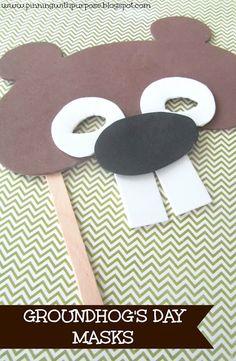 Foam groundhog masks for Groundhog's Day http://pinningwithpurpose.blogspot.com/