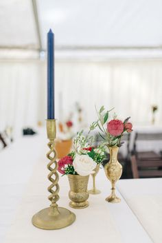 Brass Goblets & Candle sticks with Red & White Flower Stems Decor | Classic Sandhurst Military Academy wedding | Sarah Jane Ethan Photography | http://www.rockmywedding.co.uk/petra-jon/