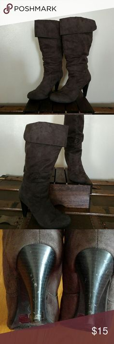 Mossimo mid calf boots Nice heel boots in good condition. Some scratches on backs of heels. Comfortable to wear but need to be broke in a bit. Mossimo Supply Co Shoes
