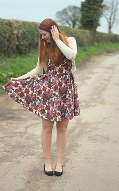 floral dress, black heels