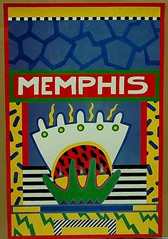 Poster Memphis design Nathalie du Pasquier ca.1985 executed by Bilbo s Hertogenbosch / the Netherlands