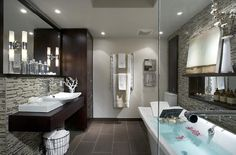 Zebra wood and glass tile in the bathroom