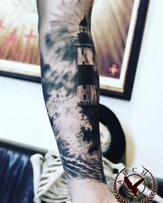 @archy_owl_tattooist #floratattoocare #tattoo #realistic #lighthouse #waves #boat #light #archy   Archy owl tattooist   https://instagram.com/p/-gOMEen6GG/