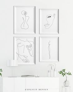 A Line Drawing Set of Printable Minimalist Kiss, Woman Body Print Bundle of Four Continuous Female Face Wall Art, Feminine Prints. - Custom order, free if you want to exchange one or two pieces of art in a set. You can print from an - Tanz Poster, Back Art, Inspirational Wall Art, Line Drawing, Body Drawing, Drawing Faces, Framed Wall Art, Gallery Wall, Prints