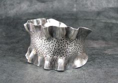 Sterling Silver Cuff Bracelet with Ruffles. by AddictionToDetail, via Etsy. b