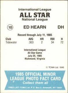 1985 TCMA International League All-Stars #10 Ed Hearn Back