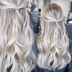 Beautiful Platinum Blonde Hair Color Ideas - Golden Blonde Hair With Platinum Highlights - Platinum Blonde Hair Color, Golden Blonde Hair, Balayage Hair Blonde, Ombre Hair, Balayage Hairstyle, Blonde Color, Babylights Blonde, Platinum Blonde Hairstyles, Blonde Hair For Summer