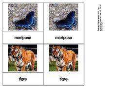 Animales Salvajes - (Wild animals in Spanish) 3 part Montessori cards