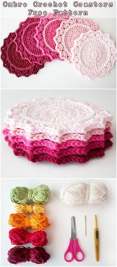 Ombre Crochet Coasters - Free Pattern #crochetpattern #crochet