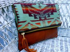 Pendleton Wool  and Leather Foldover Clutch Bag Southwest Cowgirl Purse/Ipad case pouch