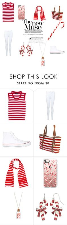 """Red Stripes (Candy Canes)"" by queenb-676 ❤ liked on Polyvore featuring Dolce&Gabbana, Miss Selfridge, Converse, Michael Kors, Burberry, Casetify and Bubbly Bows"