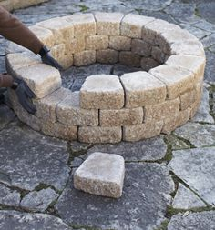 A Quick and Easy Do It Yourself Firepit Surround - Lowe's Creative Ideas (If we ever want to build our fire pit higher.)