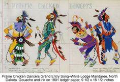 Prairie Chicken Dancers Grand Entry Song - White Lodge Mandaree, ND, gouache and ink on 1891 ledge paper , George Flett kK Native American Decor, Native American Pictures, Native American Artwork, Native American Artists, American Indian Art, Dancer Drawing, Southwestern Art, Native Art, Native Style