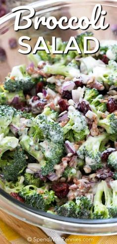 Broccoli Salad with bacon, cranberries, onions and sunflower seeds in an easy dressing. This is the perfect easy side dish for barbecues and potlucks!