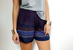 DIY Scarf Print Shorts