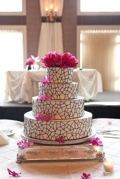 Black, white, and pink wedding cake from @Style Me Pretty