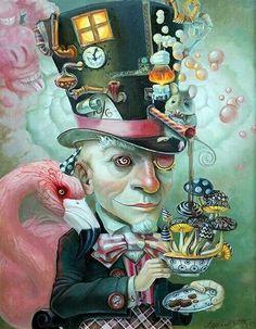 Steampunk Alice in Wonderland art.