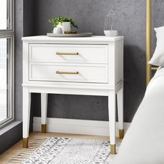CosmoLiving by Cosmopolitan Westerleigh 1 Drawer Nightstand Color: White Upholstered Panels, Furniture, Room, Dining Room Chairs, Upholstered Storage, Upholstered Platform Bed, Modern Furniture Living Room, Bedroom Night Stands, Nightstand Decor
