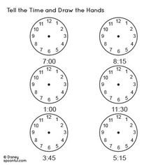 Tell the Time Worksheet and Draw the Hands  Tutors, Worksheets and more at: www.TutorFrog.com/worksheets-wyzant