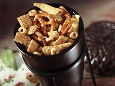 Honey-Roasted Chex® Mix...3 c Corn Chex® cereal. 2 c Cheerios® cereal, 1 1/2 c Bugles® original corn snacks, 1/2 c honey-roasted peanuts or 1 c pretzels, 2 tbs light corn syrup, 2 tbsp honey, 1 tbs butter or margarine, 1/2 tsp vanilla...
