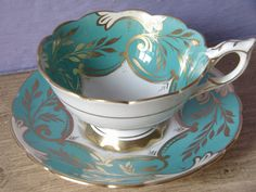 Antique Royal Stafford turquoise tea cup