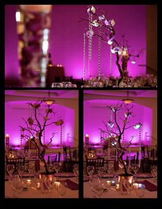 "Orlando wedding….LOVE our new CENTERPIECE UPLIGHTS!     Very small LED Lights that we wrap with crystals ribbon that are placed at the base of tall floral and branches to give it a pop of light at the reception!    (notice the ""without light"" and ""with light photo"")    Lighting by Soundwave, djsoundwave.net.    Photo by Brian Pepper and Associates  #Orlandowedding  #Orlandodj  #Orlandoweddingdj   #Orlandoledlighting"