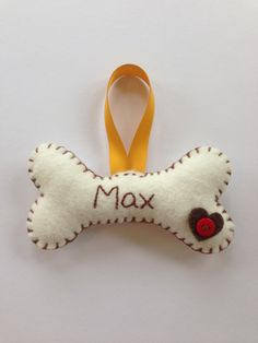 Handmade Personalised Felt Christmas Tree Decorations Ornaments Pudding Dog Bone | eBay