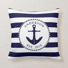 Shop Nautical Navy Blue Anchor And Rope Personalized Throw Pillow created by SunnyLifestyle. Personalize it with photos & text or purchase as is! Nautical Bedroom, Nautical Home, Nautical Design, Anchor Bedroom, White Bedroom, Navy Blue Throw Pillows, Accent Pillows, White Pillows, Nautical Cushions