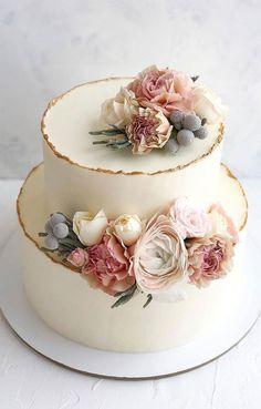 Elegant Birthday Cakes, Pretty Wedding Cakes, Floral Wedding Cakes, Wedding Cake Rustic, Wedding Cakes With Cupcakes, Elegant Wedding Cakes, Elegant Cakes, Wedding Cake Designs, Simple Elegant Wedding