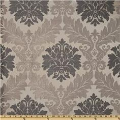 Parisian Jacquard Silver  Item Number: UJ-155     This woven jacquard fabric is medium weight and very versatile, perfect for window treatments (swags, valances, draperies, etc.), duvet covers, pillow shams, revitalizing an old furniture piece with a new look or creating accent pillows. Colors include charcoal and pewter on a dove grey background.   $16.98/yd
