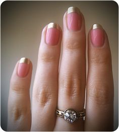 Pink and Gold Nails I would use a fainter, more natural pink for me. Gold tips are beautiful.