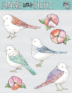 Illustrated Watercolor Birds and Flowers - Digital Clip Art. $5.00, via Etsy.