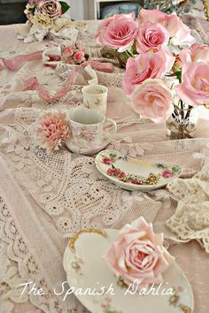 Romantic Tea Party, scrunched up tablecloth, layers of lace and texture