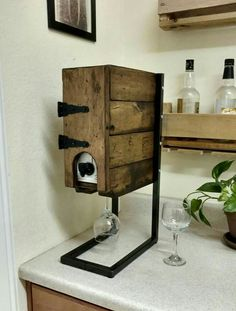 Awesome idea for box wine holder.