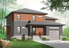 Discover the plan 3469 - Parkview from the Drummond House Plans house collection. 3 to 4 Modern house plan with garage, 2 family rooms, home office, fireplace, open floor plan. House Plans 3 Bedroom, Garage House Plans, House Floor Plans, Car Garage, Modern Floor Plans, Modern House Plans, Small House Plans, Contemporary Style Homes, Contemporary House Plans