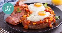 Breakfast in bed? Let the feasting begin with Leggo's Big Breakfast. Easy Recipes, Easy Meals, Cooking Recipes, Breakfast In Bed, Baked Beans, Roasted Tomatoes, Have Time, Crisp, Breakfast Recipes
