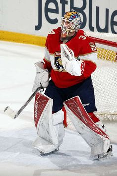 SUNRISE, FL - FEBRUARY 3: Goaltender James Reimer #34 of the Florida Panthers celebrates his 100th win. James Reimer made 22 saves against the Anaheim Ducks at the BB&T Center on February 3, 2017 in Sunrise, Florida. (Photo by Eliot J. Schechter/NHLI via Getty Images)