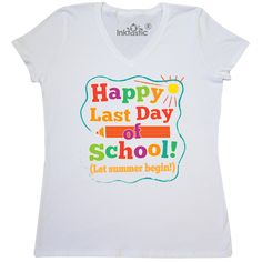 508329b3ca2 Inktastic Happy Last Day Of School Women s V-Neck T-Shirt End Teacher  Student