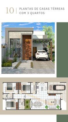 10 Plantas de casas térreas com 3 quartos e imagens de fachadas. Projetos modernos e aconchegantes. #Interiores