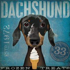 Dachshund Frozen Treats Company original by geministudio on Etsy, $80.00