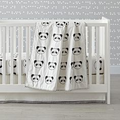 David loves pandas! & babies really only see black and white for the first few months. Panda Baby Quilt | The Land of Nod