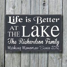 Lake House Decor Personalized Lake Sign Life by doudouswooddesign